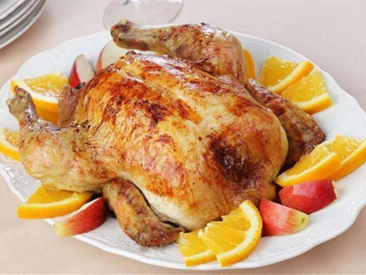 Κοτόπουλο με ξινόμηλα και Calvados